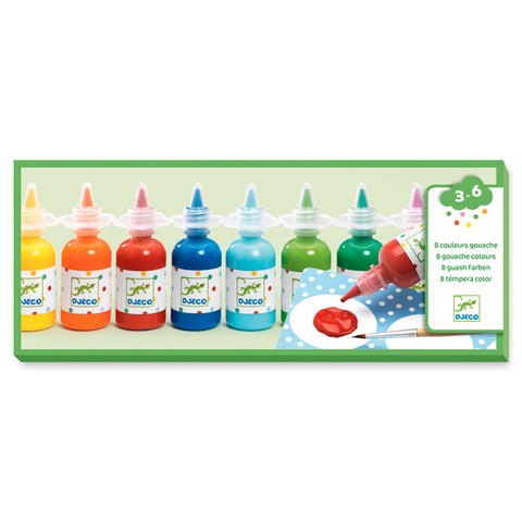 8 bottles of poster paint Djeco