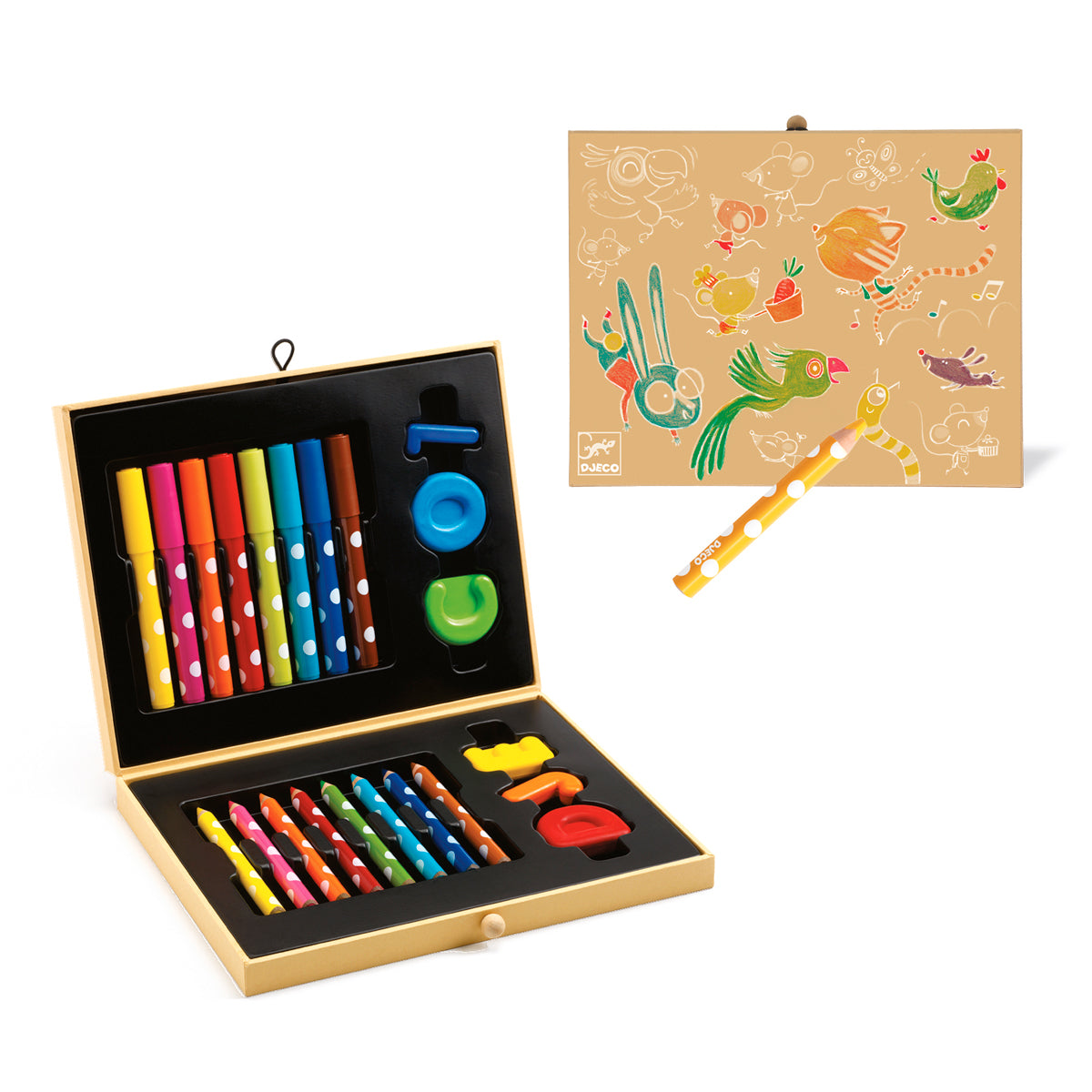 Box of colours for toddlers djeco pens coloured pencils and crayons