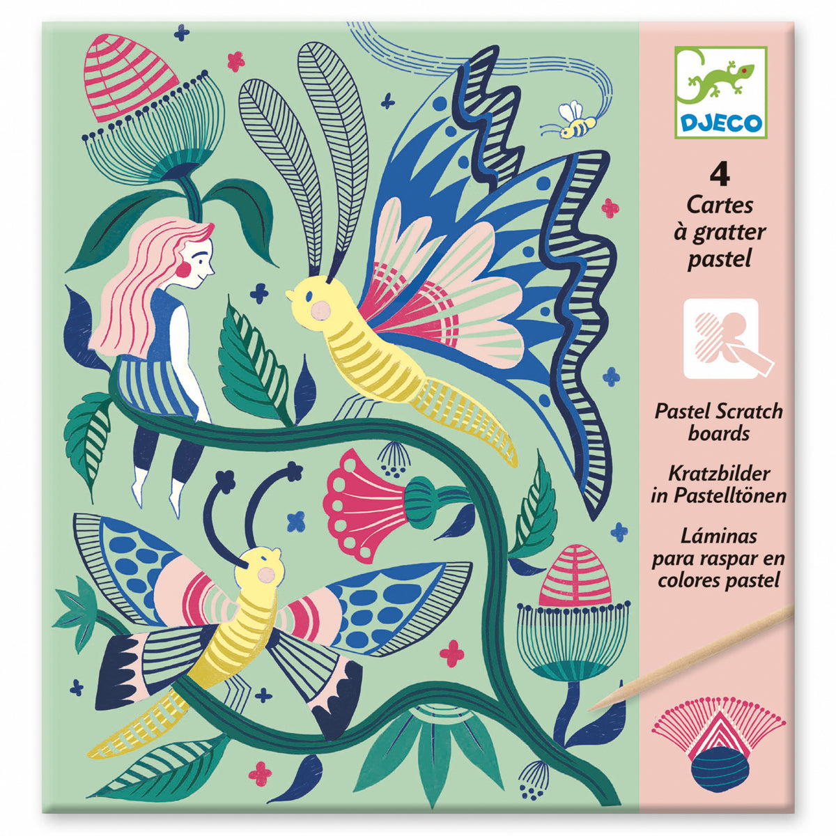 Pastel Scratch Cards Djeco Fantasy Garden small gifts 3-6 years
