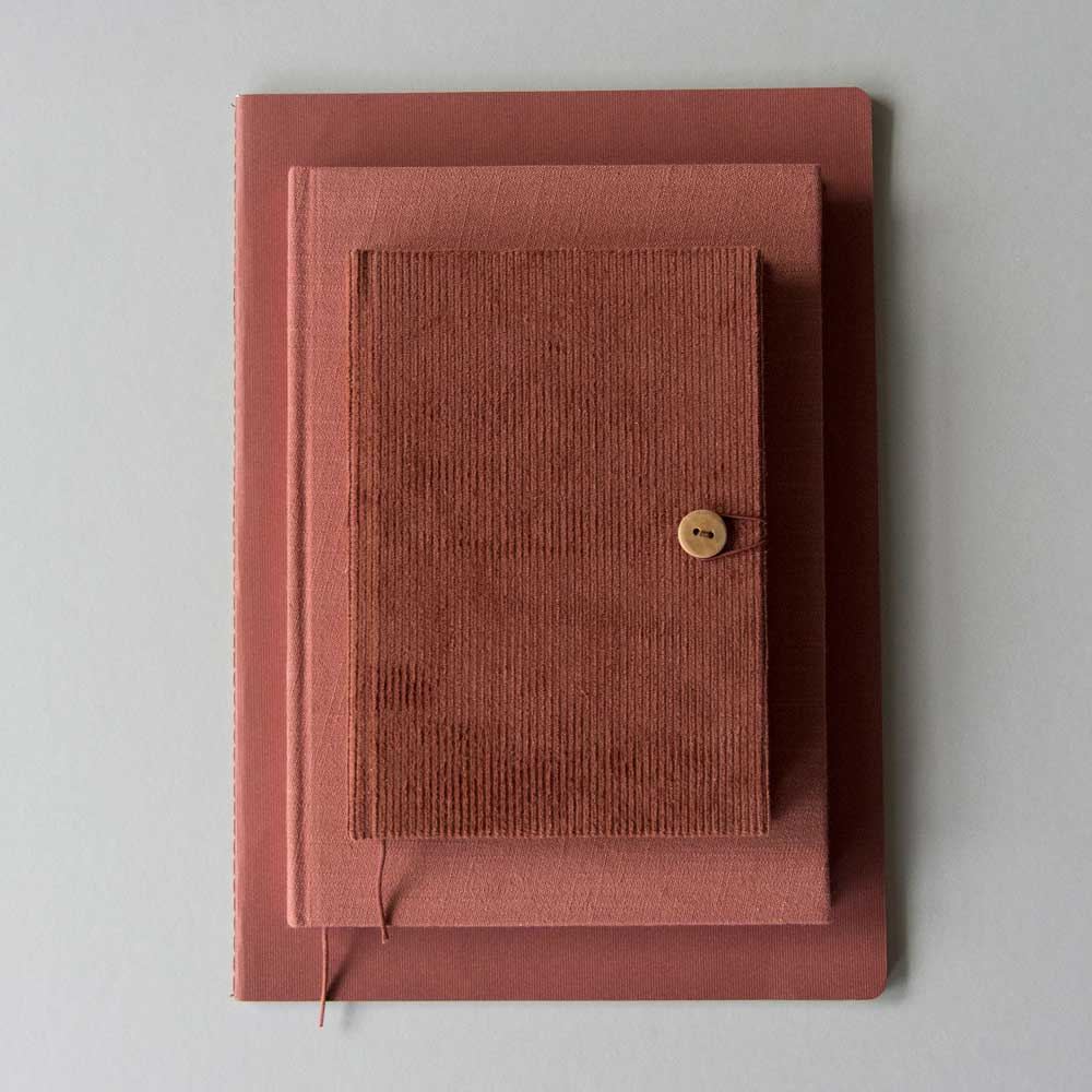 Notebooks by Monk and Anna in Brick Red Linen and corduroy