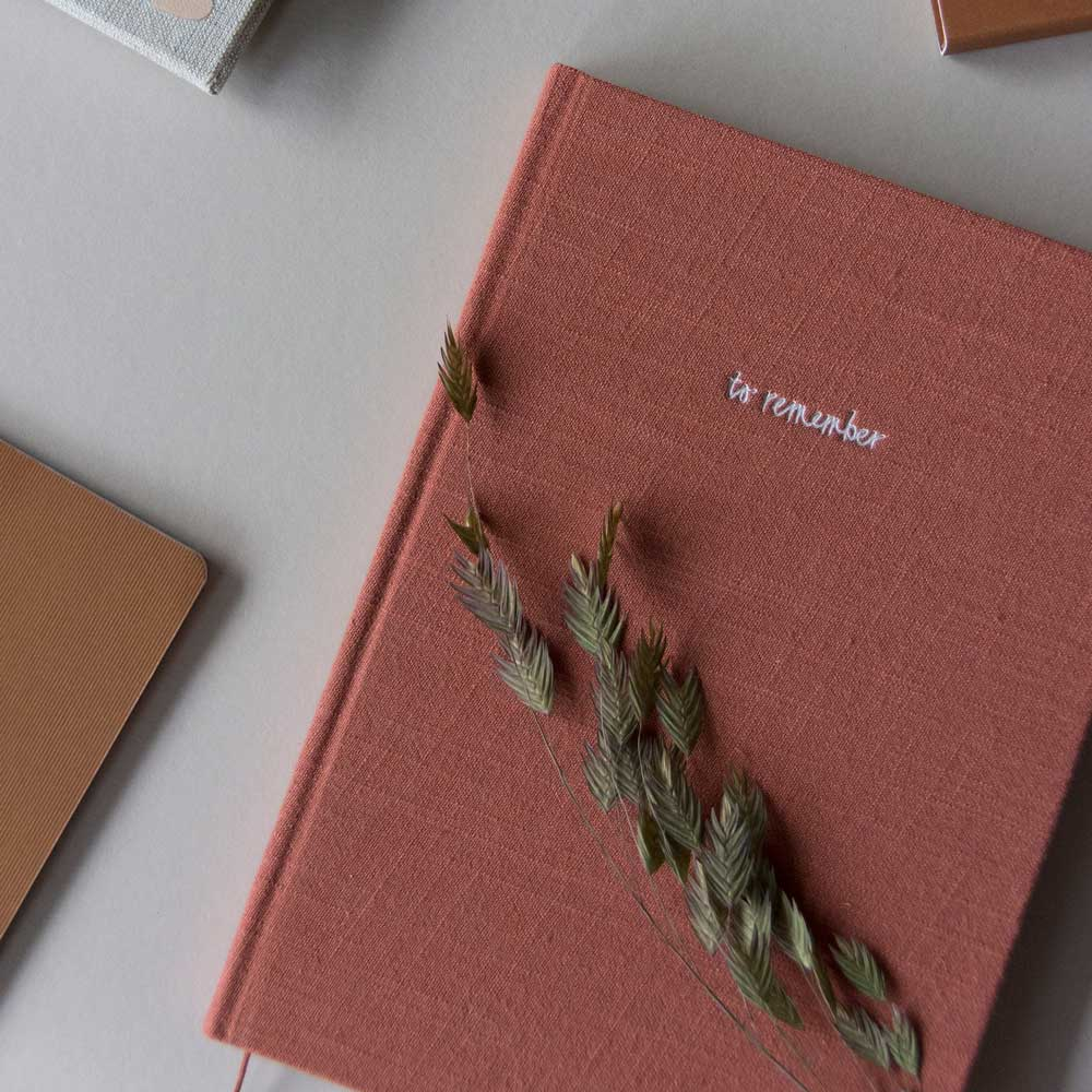 Notebook in Washed Linen Brick Red by Monk and Anna