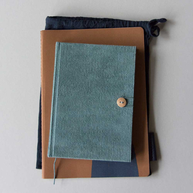 Notebooks in Corduroy Caramel Fudge, Pink, Rust and blue green by Monk and Anna
