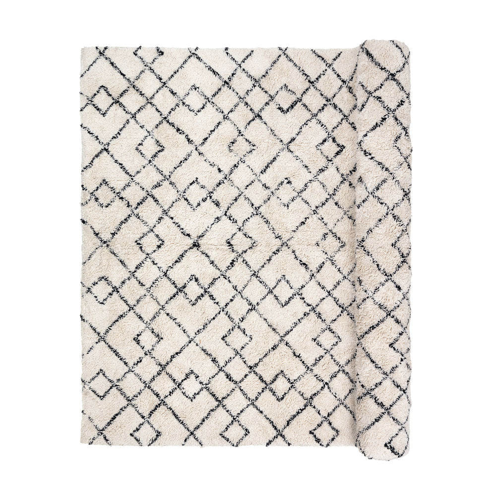 Broste Copenhagen Bohemian Janson rug cream and black