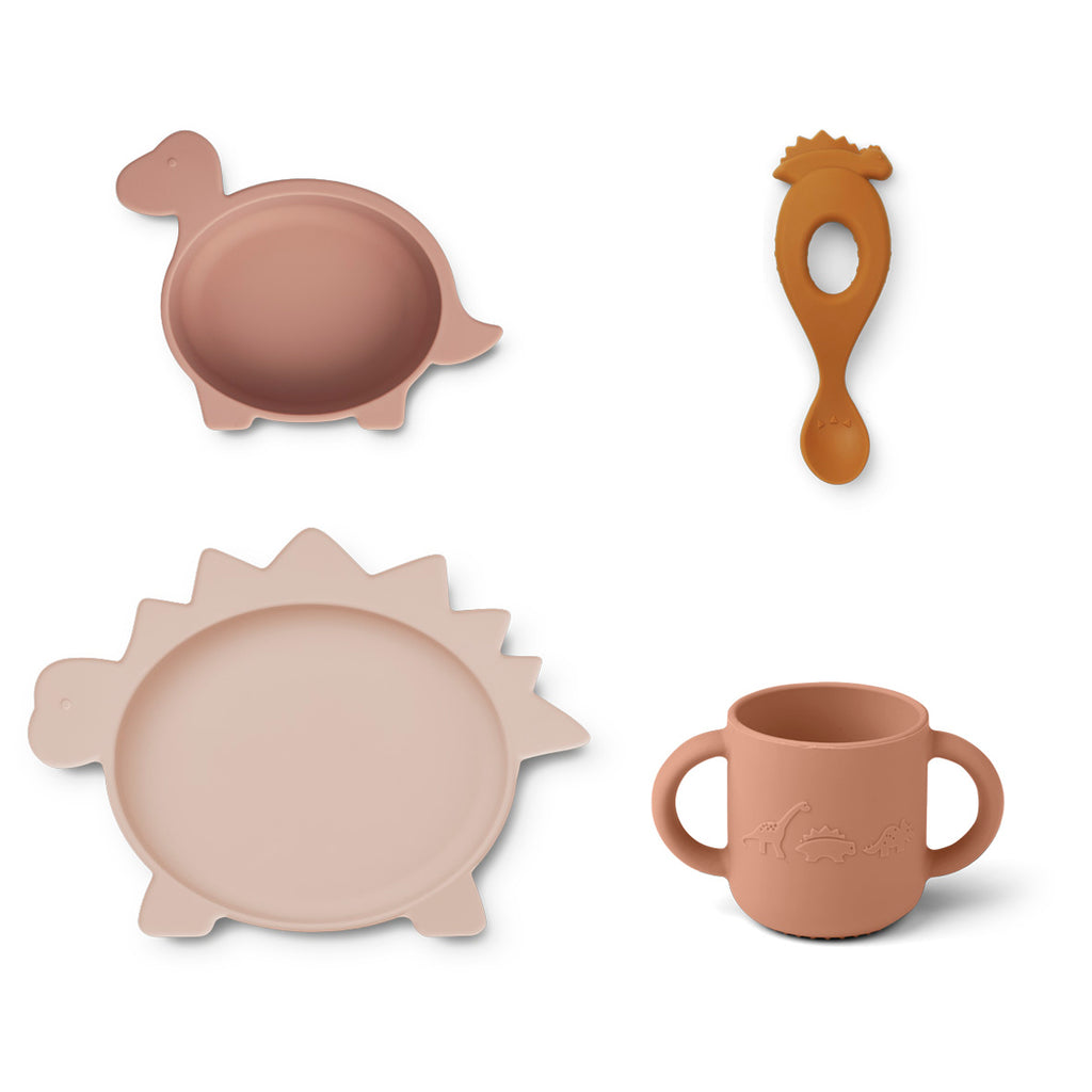 Liewood Vivi Silicone Tableware 4 pack - Baby - Dino rose multi mix