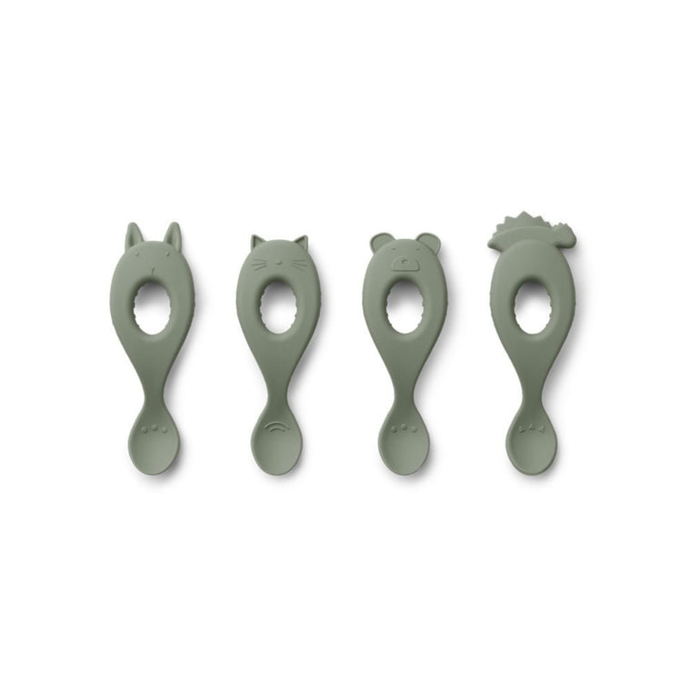 Liva Silicone Spoon 4 Pack - Faune green