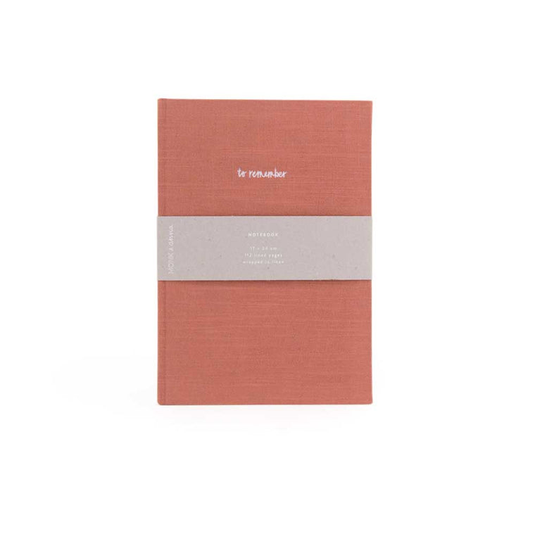 Notebook in Washed Linen Brick Red