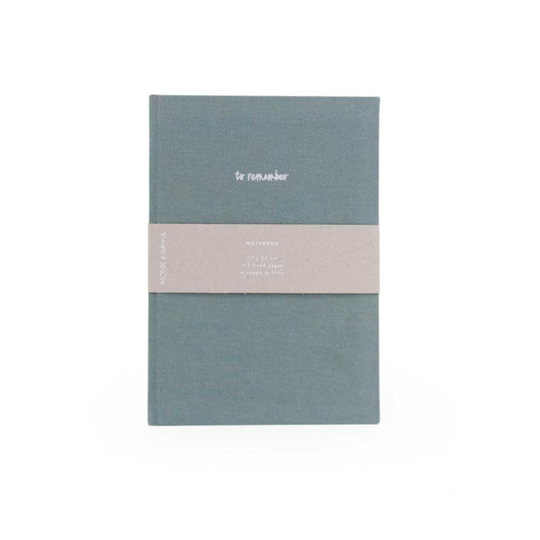 Notebook in Washed Linen Dusty Green