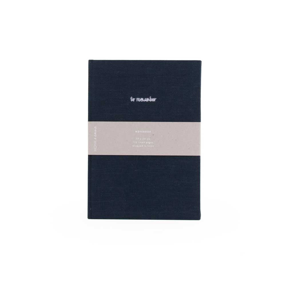 Notebook in Washed Linen Midnight Blue by Monk and Anna