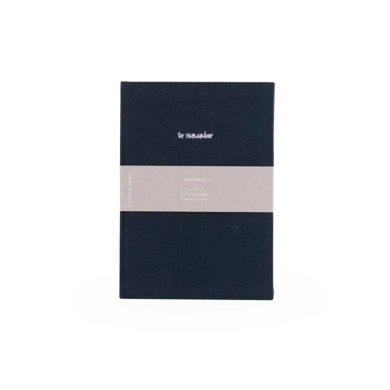 Notebook in Washed Linen Midnight Blue