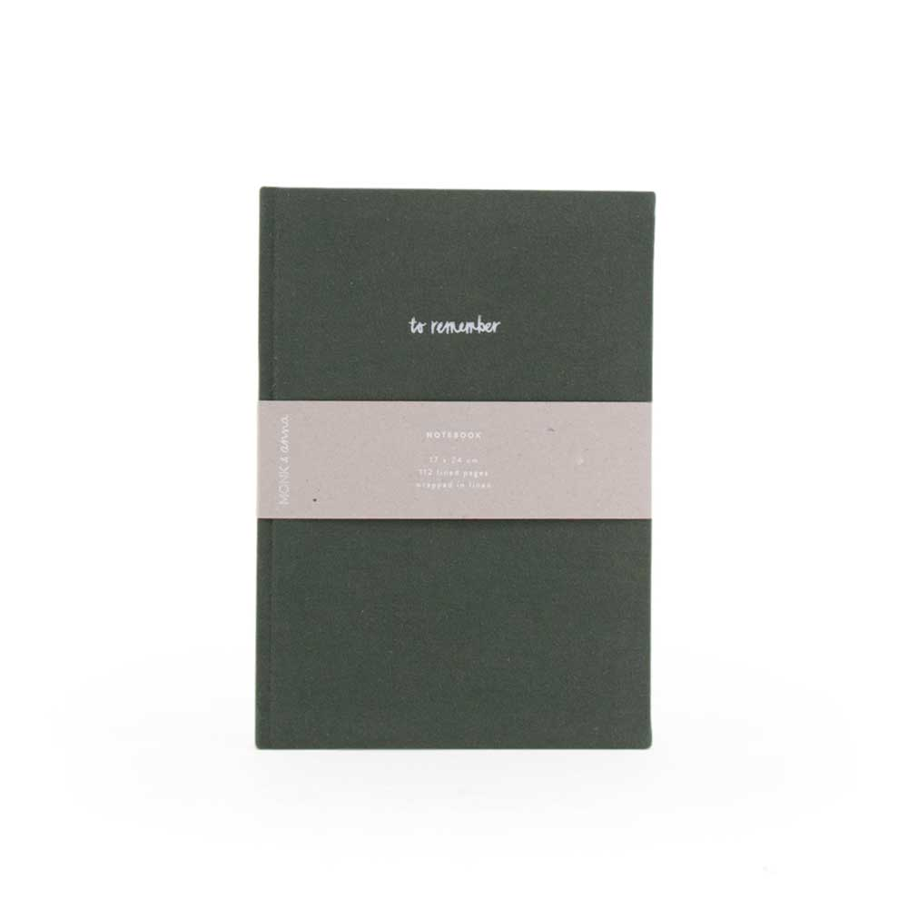Notebook in Washed Linen Pine Green by Monk and Anna
