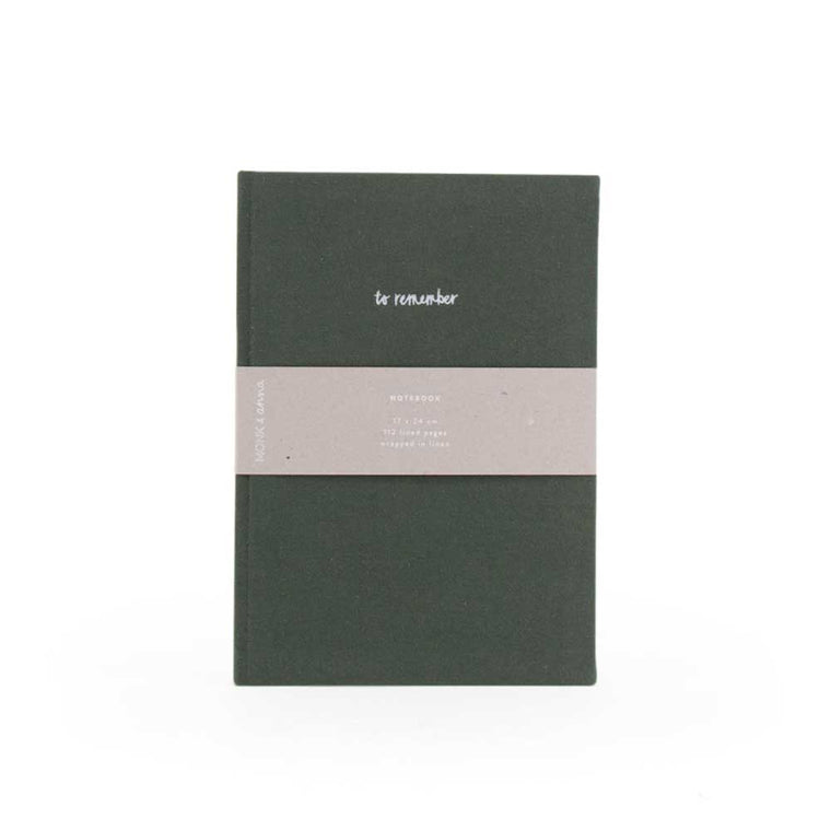 Notebook in Washed Linen Pine Green