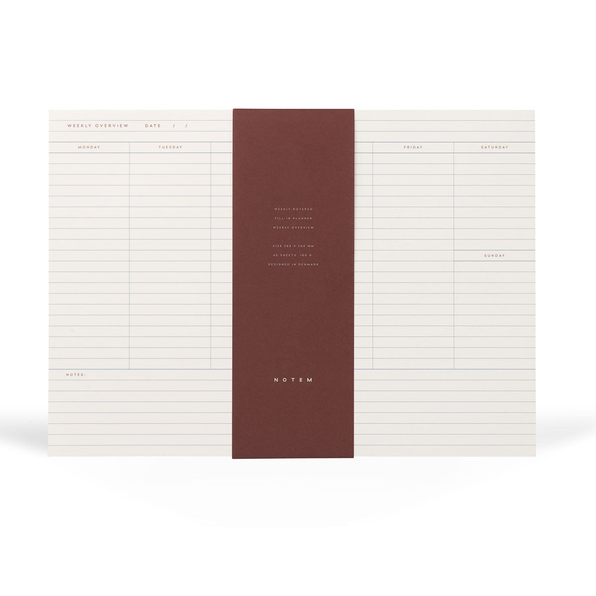 MILO Weekly Planner Notepad - White & Blue