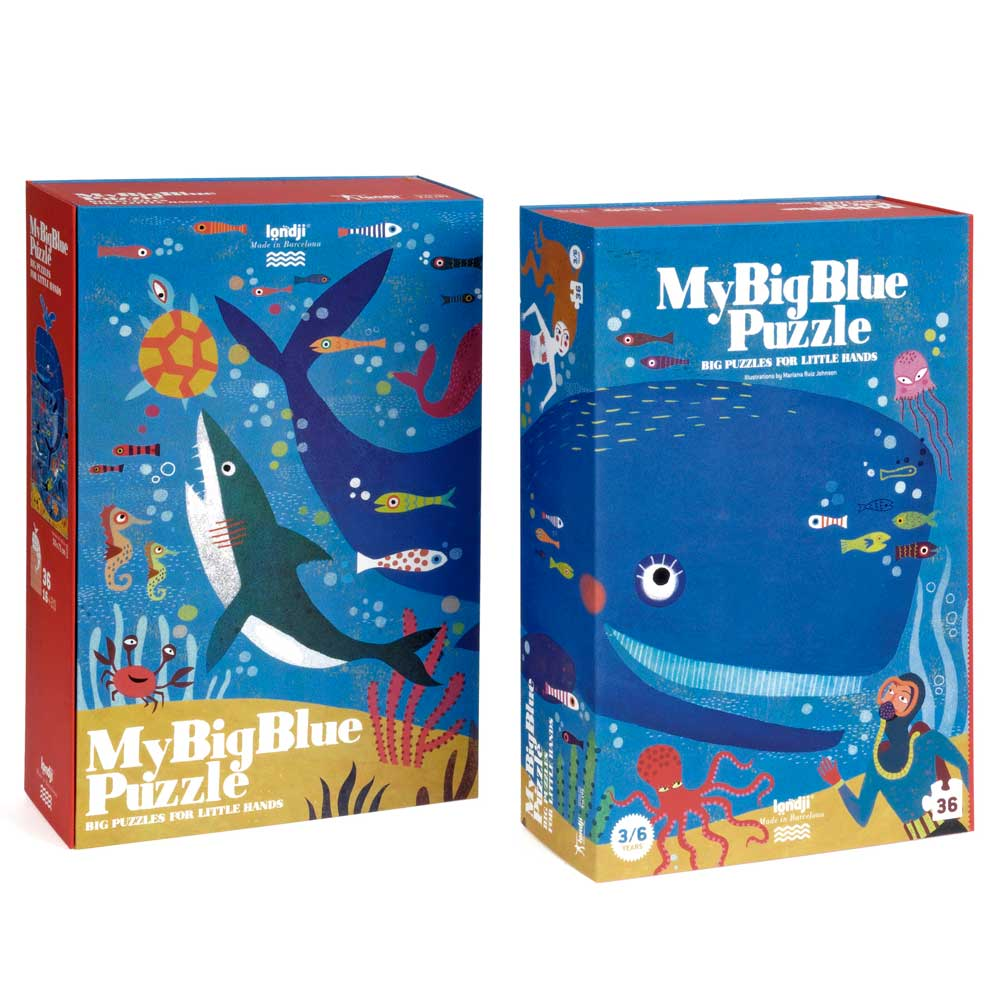 Whale jigsaw box blue puzzle from Londji