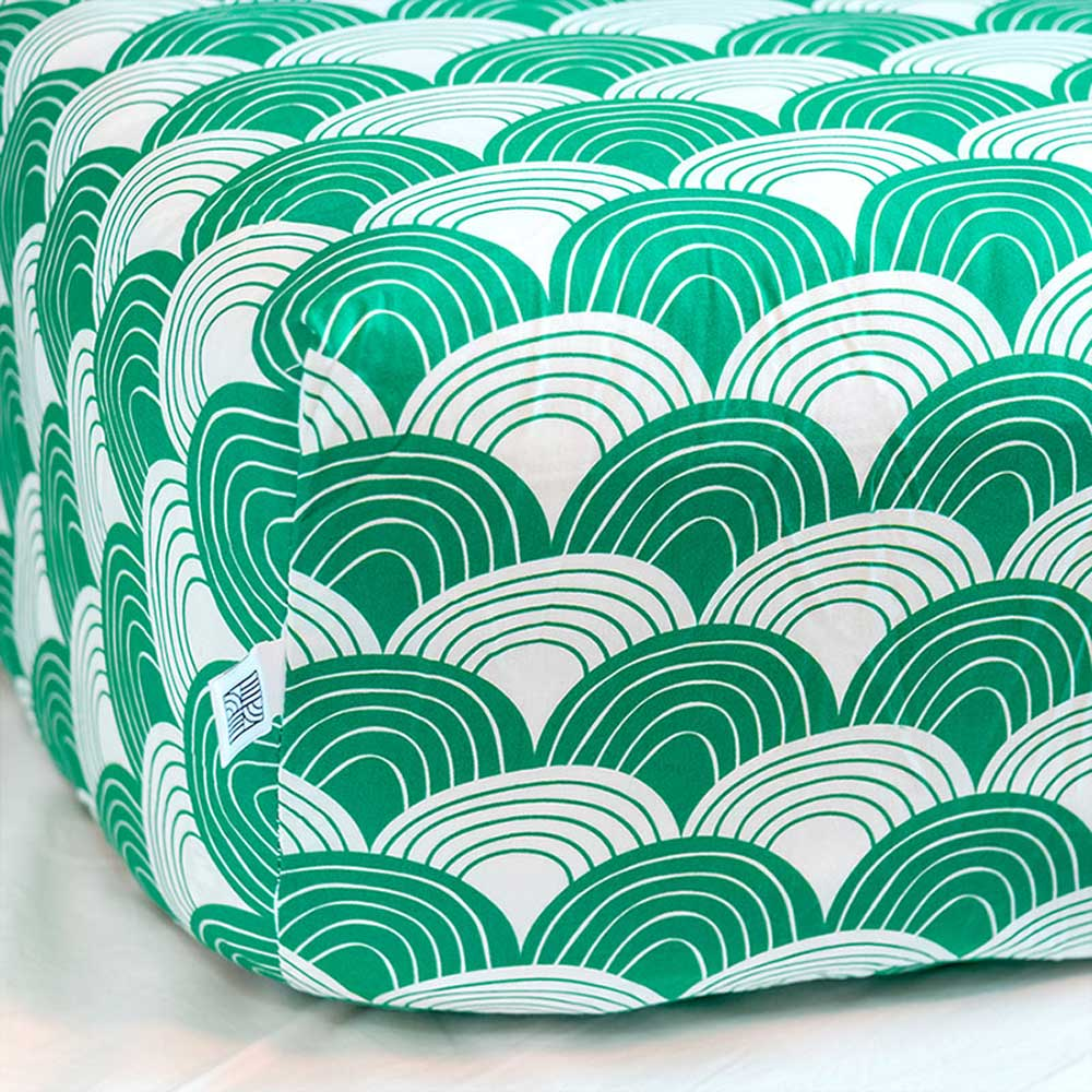 Rainbows fitted sheet pine green swedish linens