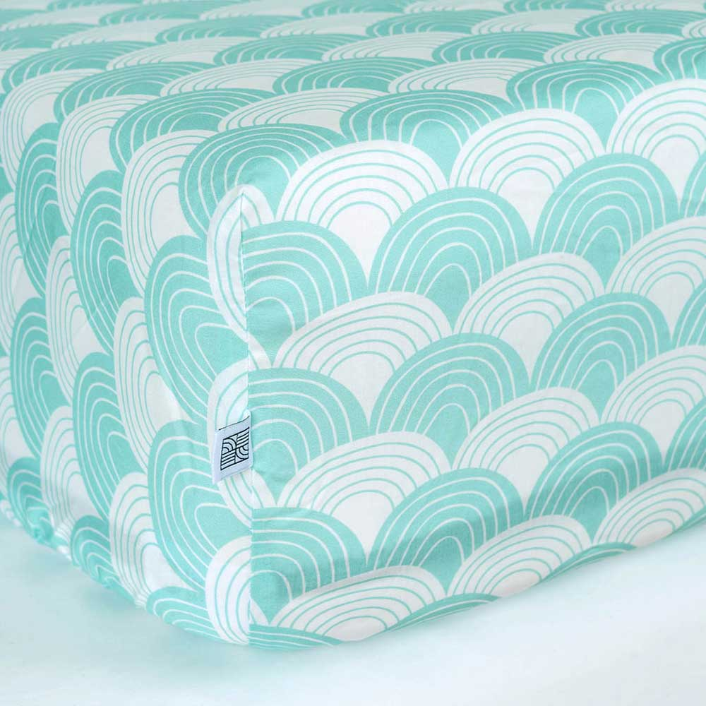 Rainbows fitted sheet Minty Blue swedish linens