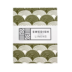 Swedish Linens Rainbows fitted sheet Olive green