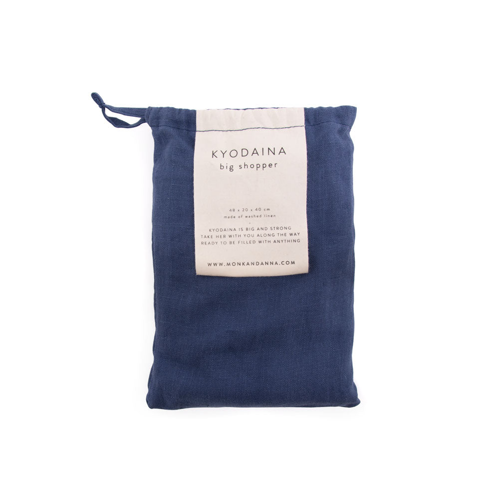 Kyodaina Shopper Midnight Blue large linen bag by Monk and Anna