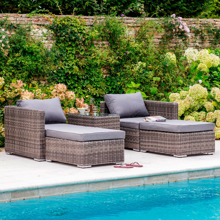 Selbourne double lounger set all weather rattan garden trading