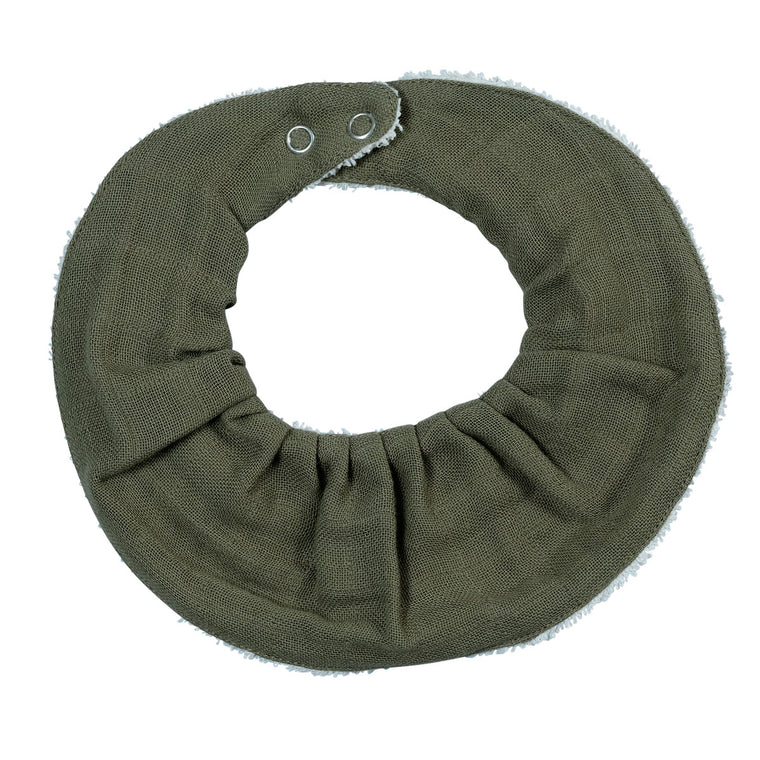 Ruffle bib single Olive