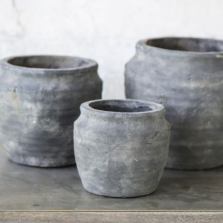 Pot Athens Grooved clay grey cactus pot IB Laursen