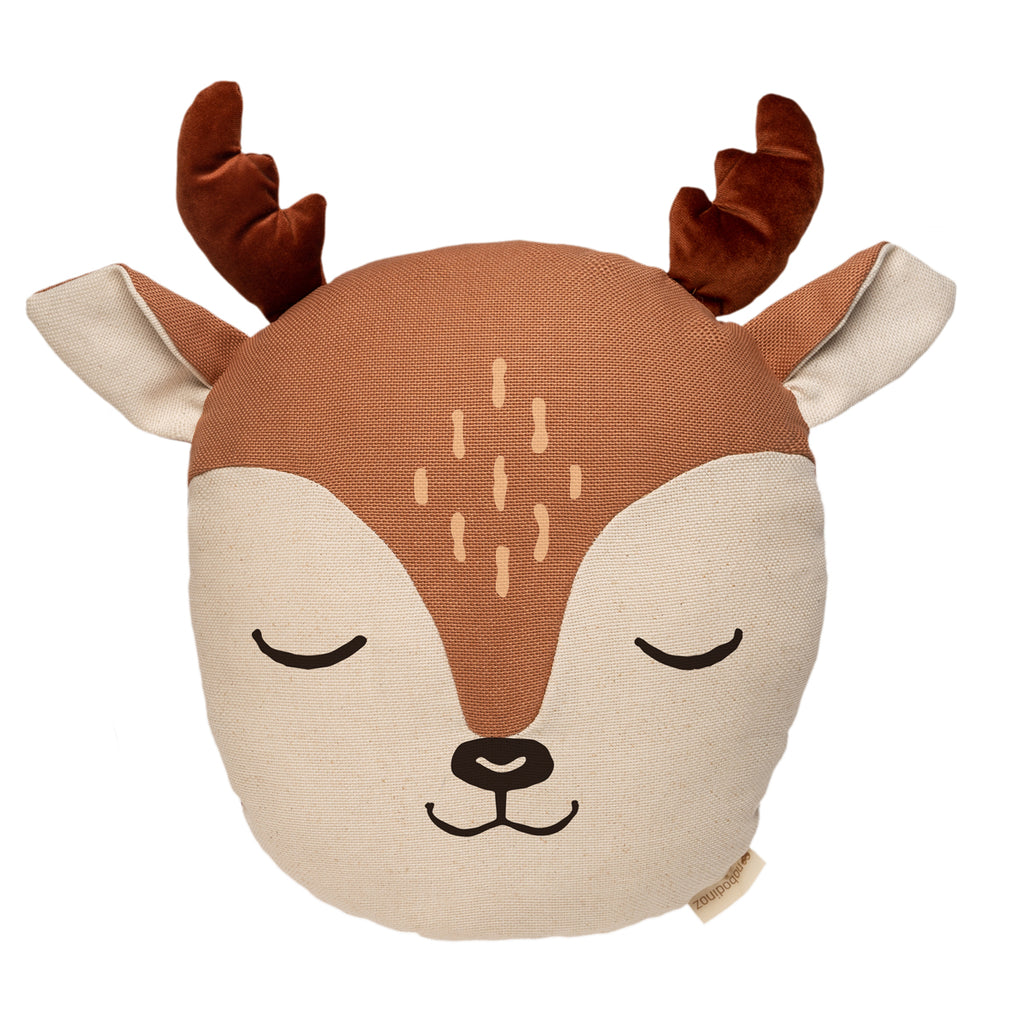 Nobodinoz Deer Cushion sienna brown and Wild brown velvet Organic