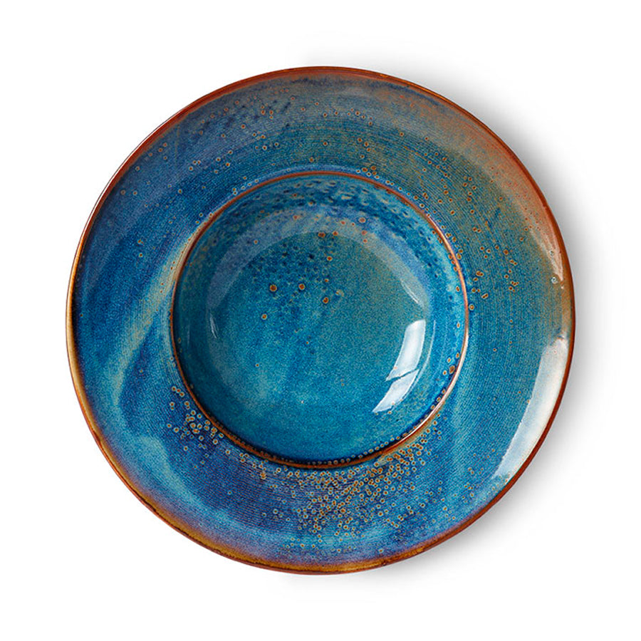 home chef ceramics: pasta plate rustic blue