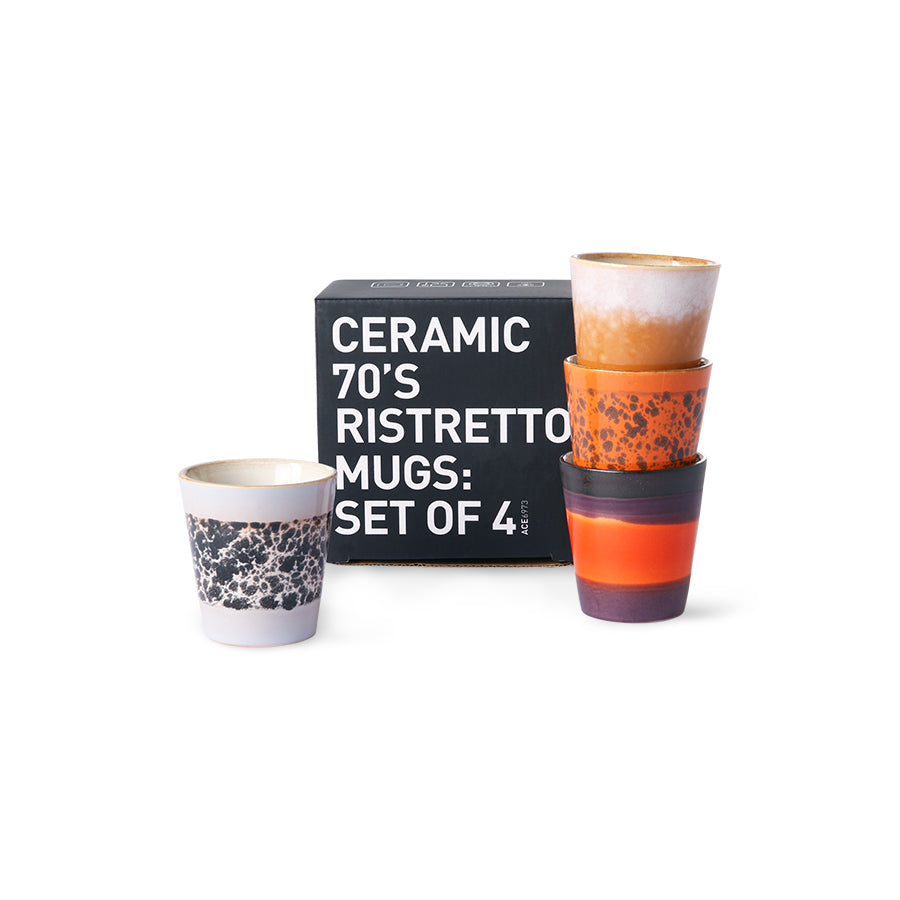 HK Living 70s ceramics: ristretto mugs (set of 4) ACE6973