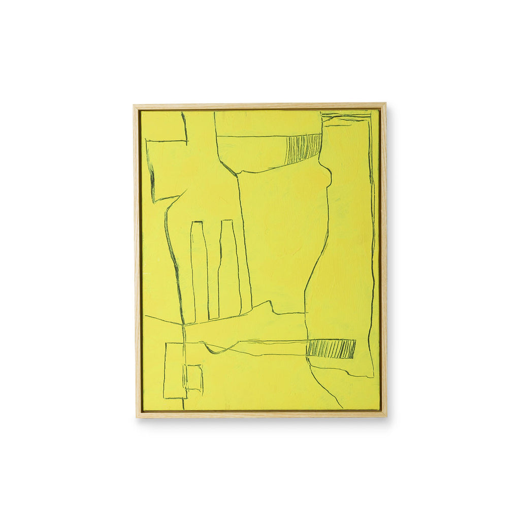HK Living framed brutalism painting yellow 40x50cm