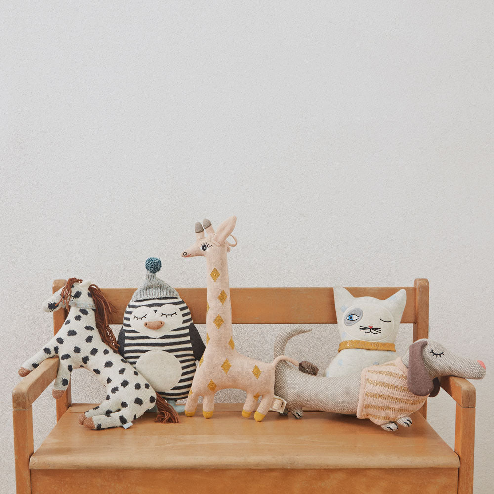 little darling cushions by oyoy living design cat, dog, giraffe , pony and penquin knitted cushions