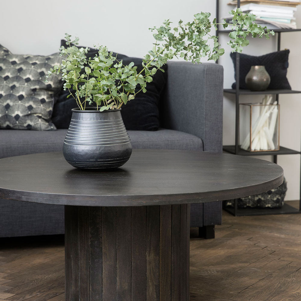close up of pillar black coffee table from house doctor