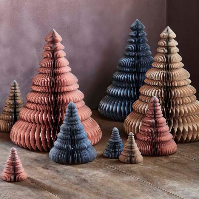 Broste Copenhagen Pink Paper Christmas Trees with silver gilt