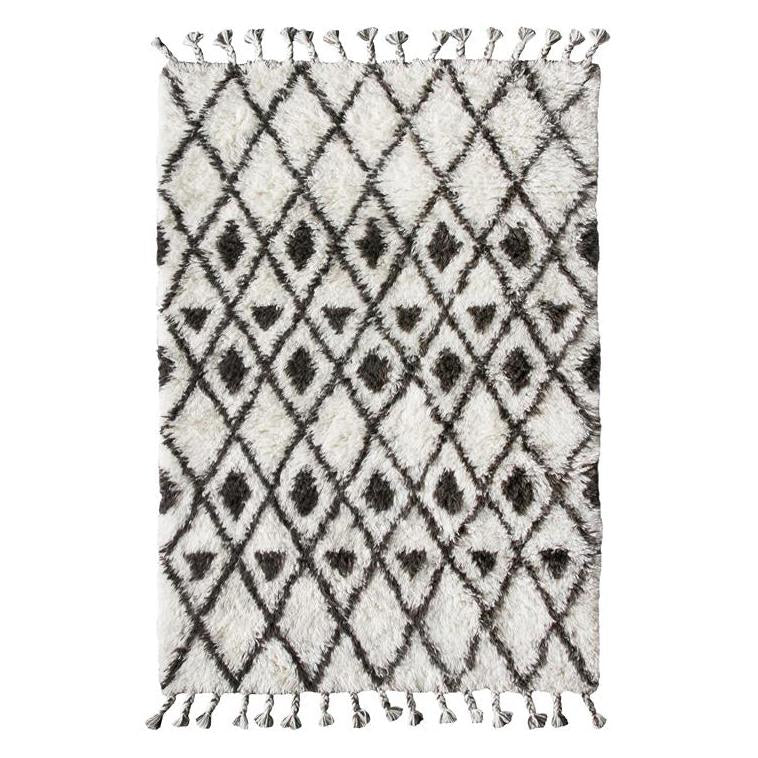 Brown and Cream hand knotted woolen berber rug
