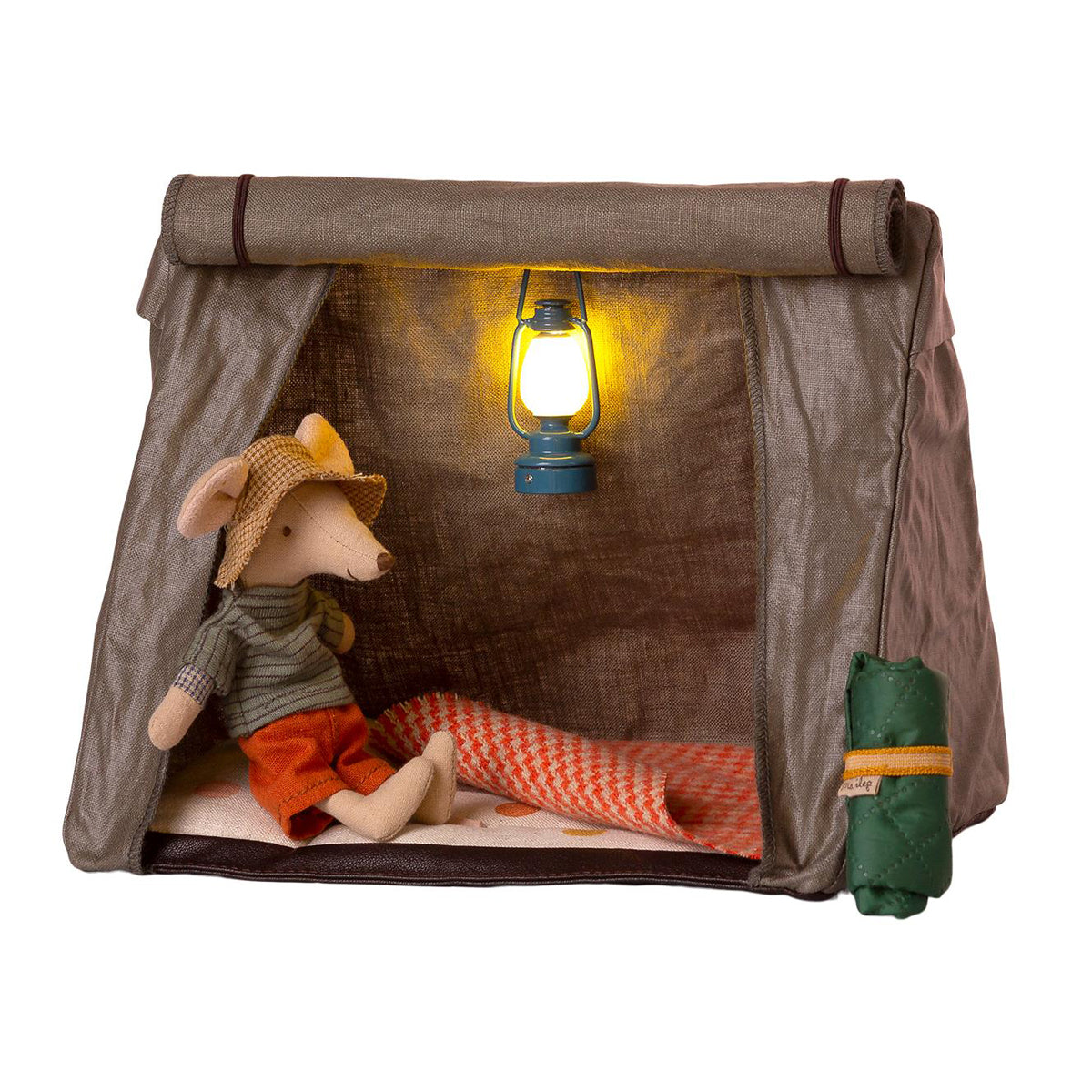 Happy Camper tent Maileg Mouse Green linen miniature tent and mattress