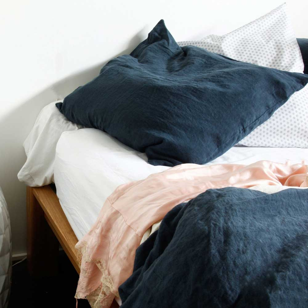 Navy Gauze Duvet set and pillowcase.