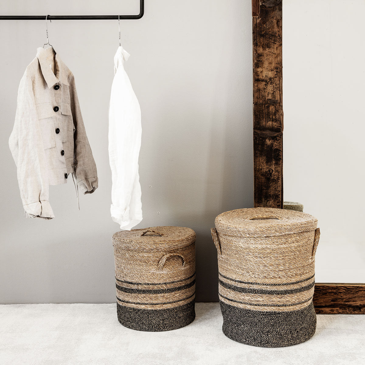 Storage w. lid, Laundry, Nature jute basket from house doctor