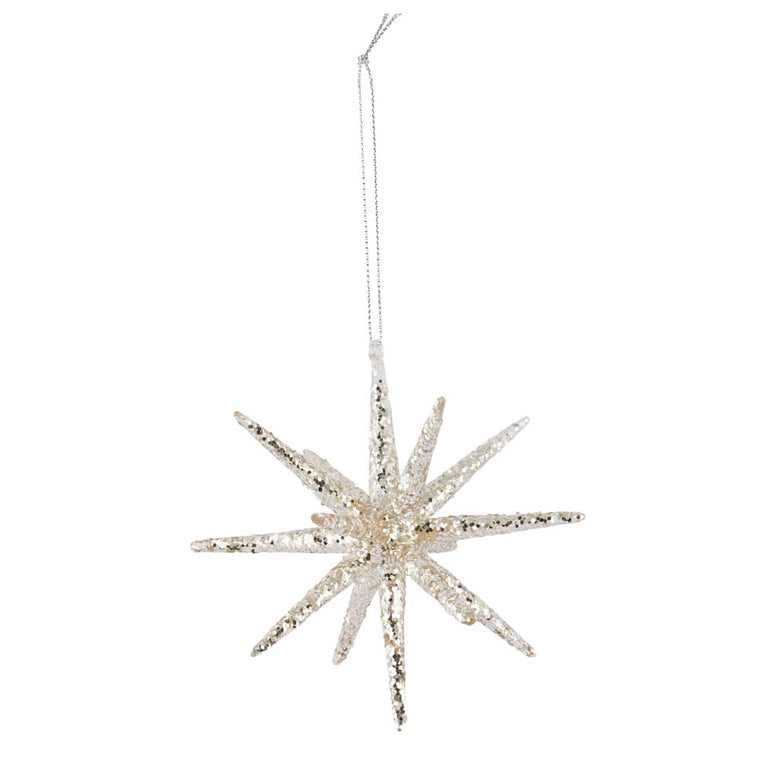 Glass Spike with Silver Glitter 12cm