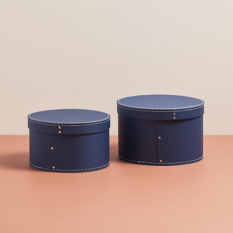 Kids concept Storage box round 2-set dark blue
