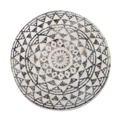 round bathmat 120cm hk living aztec black and white