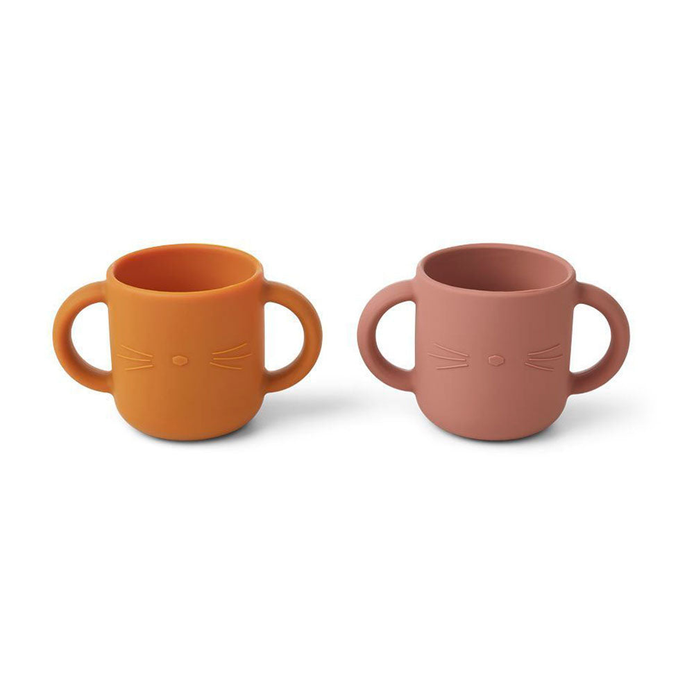 Liewood Gene Silicone Cup - 2 pack cat dark rose and mustard toddler cup