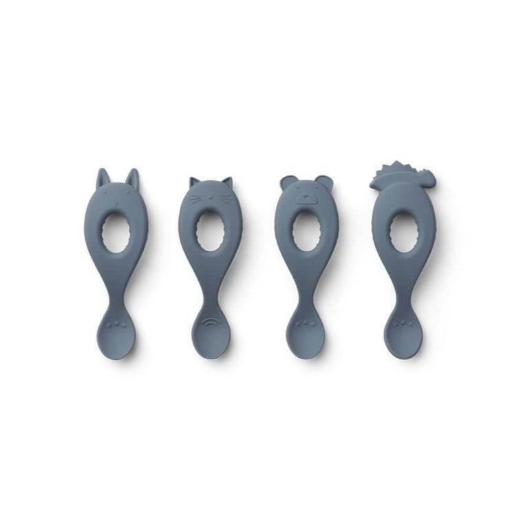 Liva Silicone Spoon 4 Pack - Blue Wave