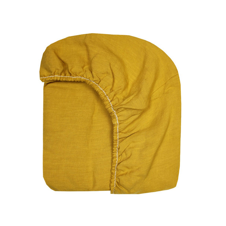 mustard gauze fitted sheet