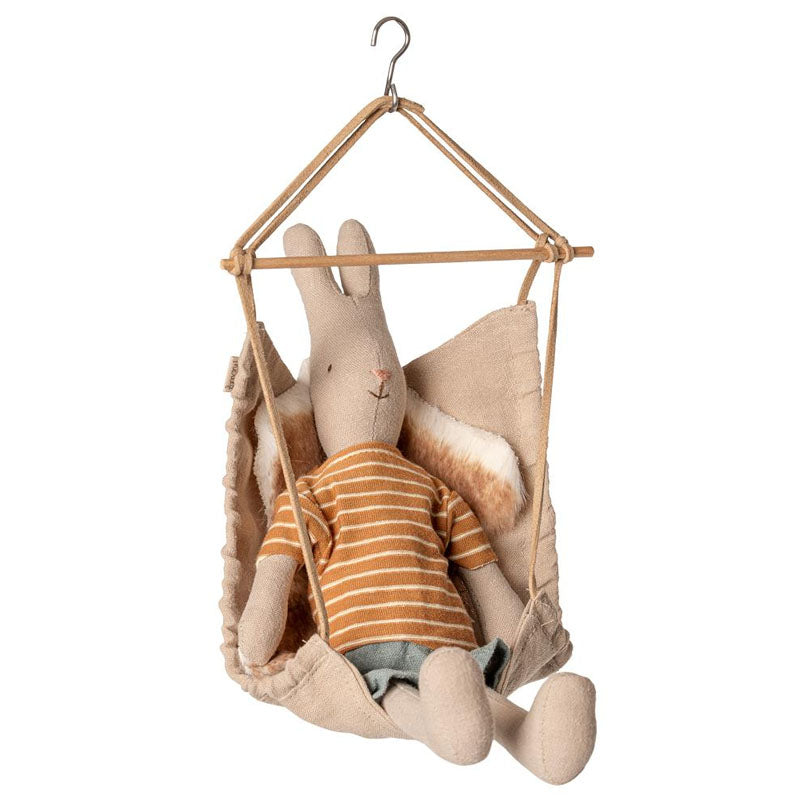 maileg hanging chair with sheepskin for dolls house furniture