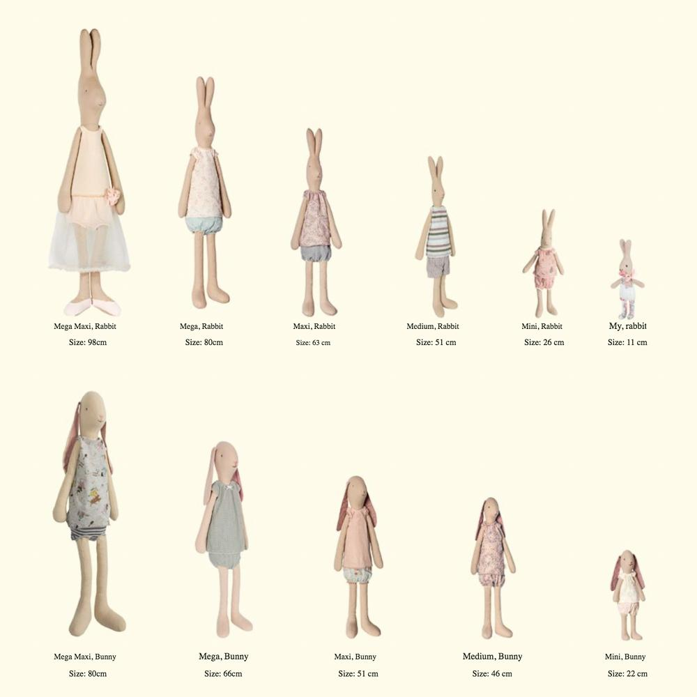 maileg bunny and rabbit sizes