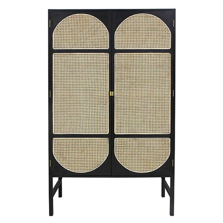 retro webbing cabinet with shelves Black