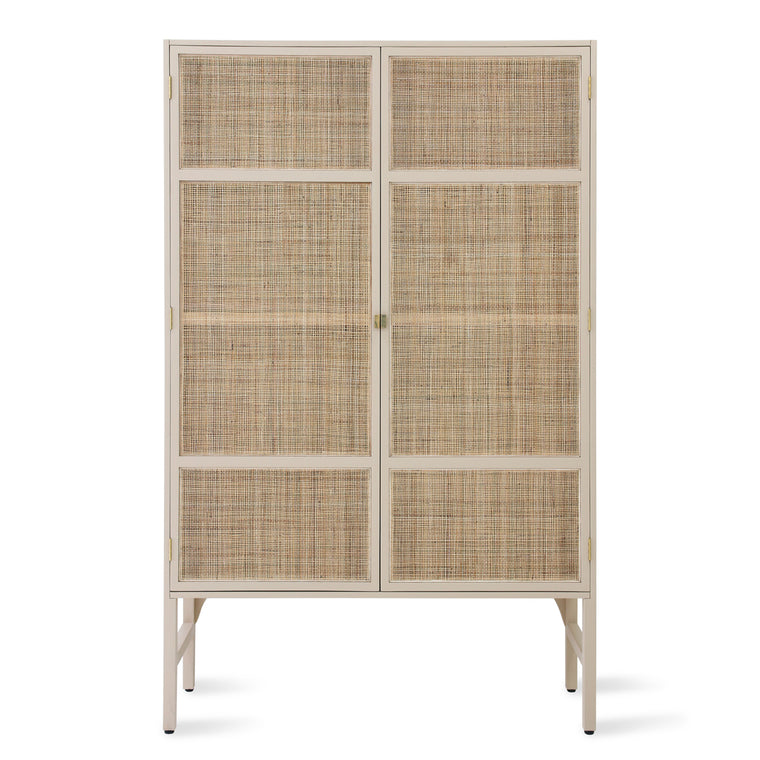 retro webbing cabinet with shelves sand