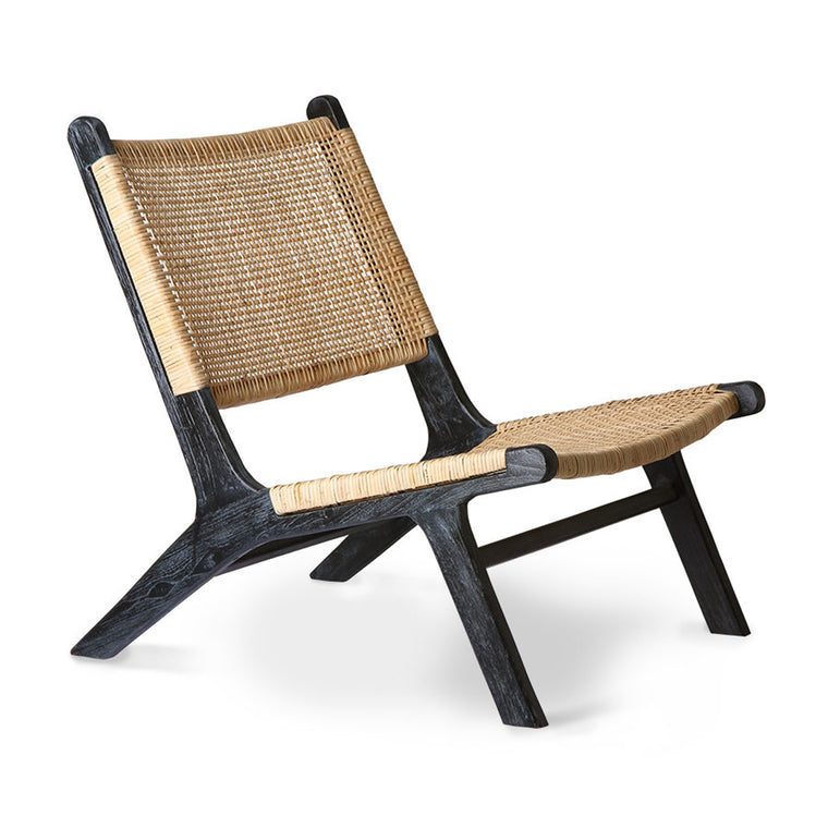 webbing lounge chair black/natural