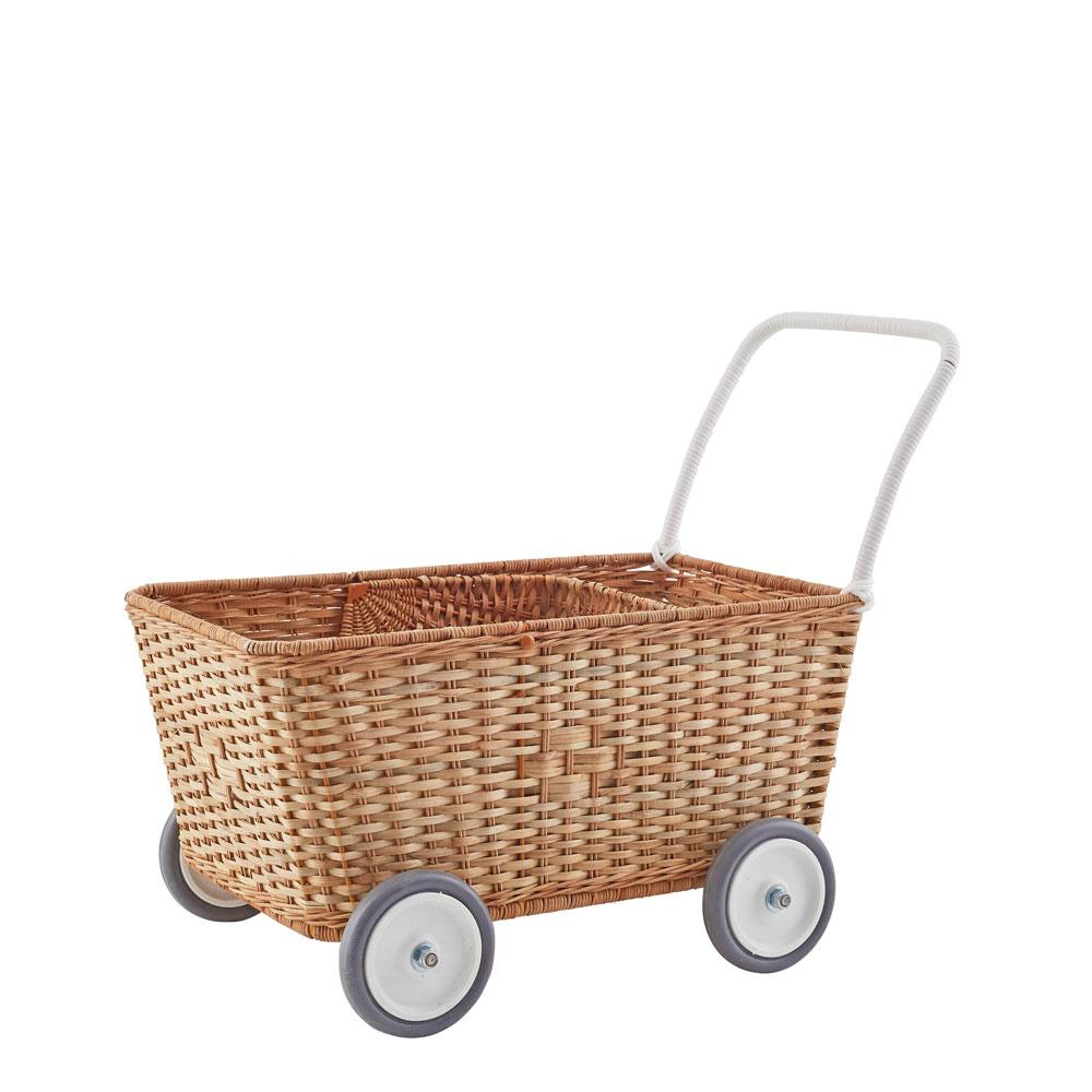 Olliella strolley shopping cart wicker with wheels