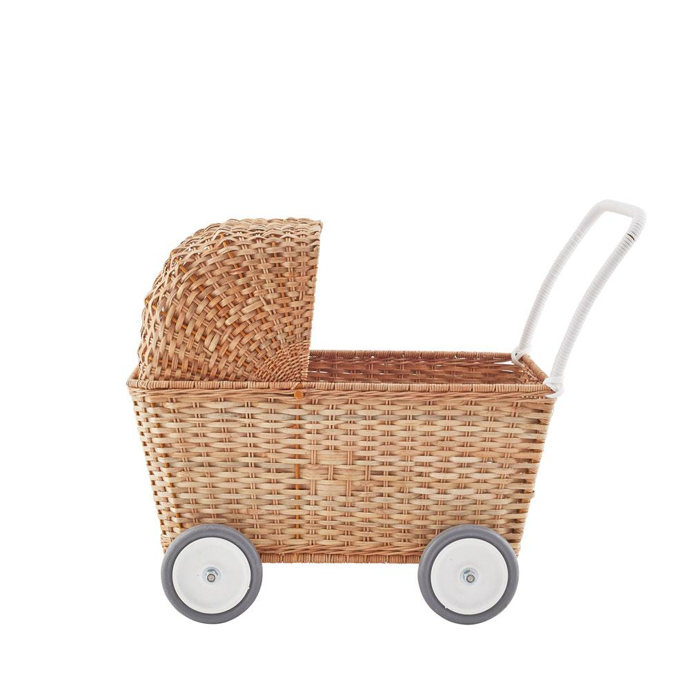 old fashioned wicker pram vintage