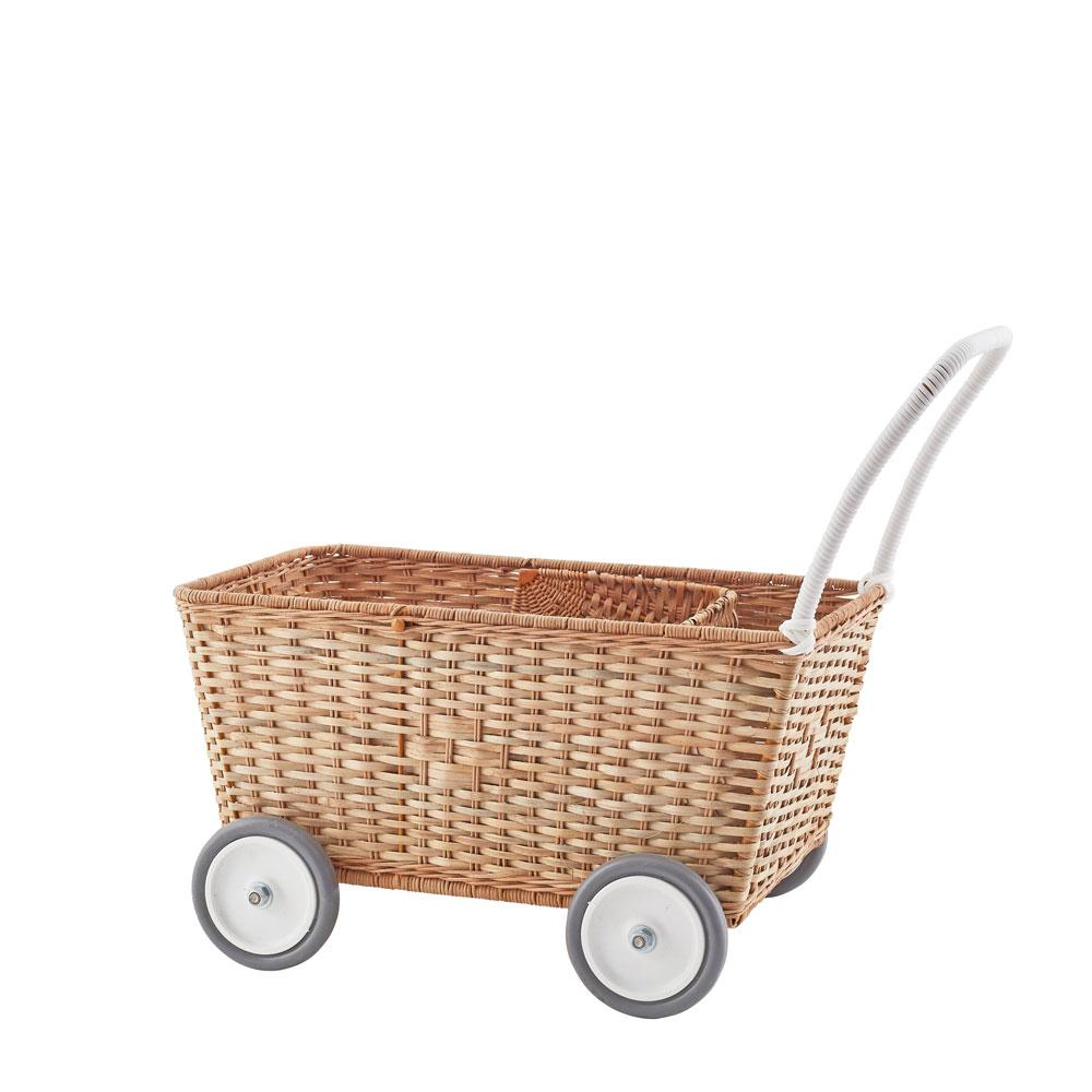 wicker basket shopping cart with wheels and a handle