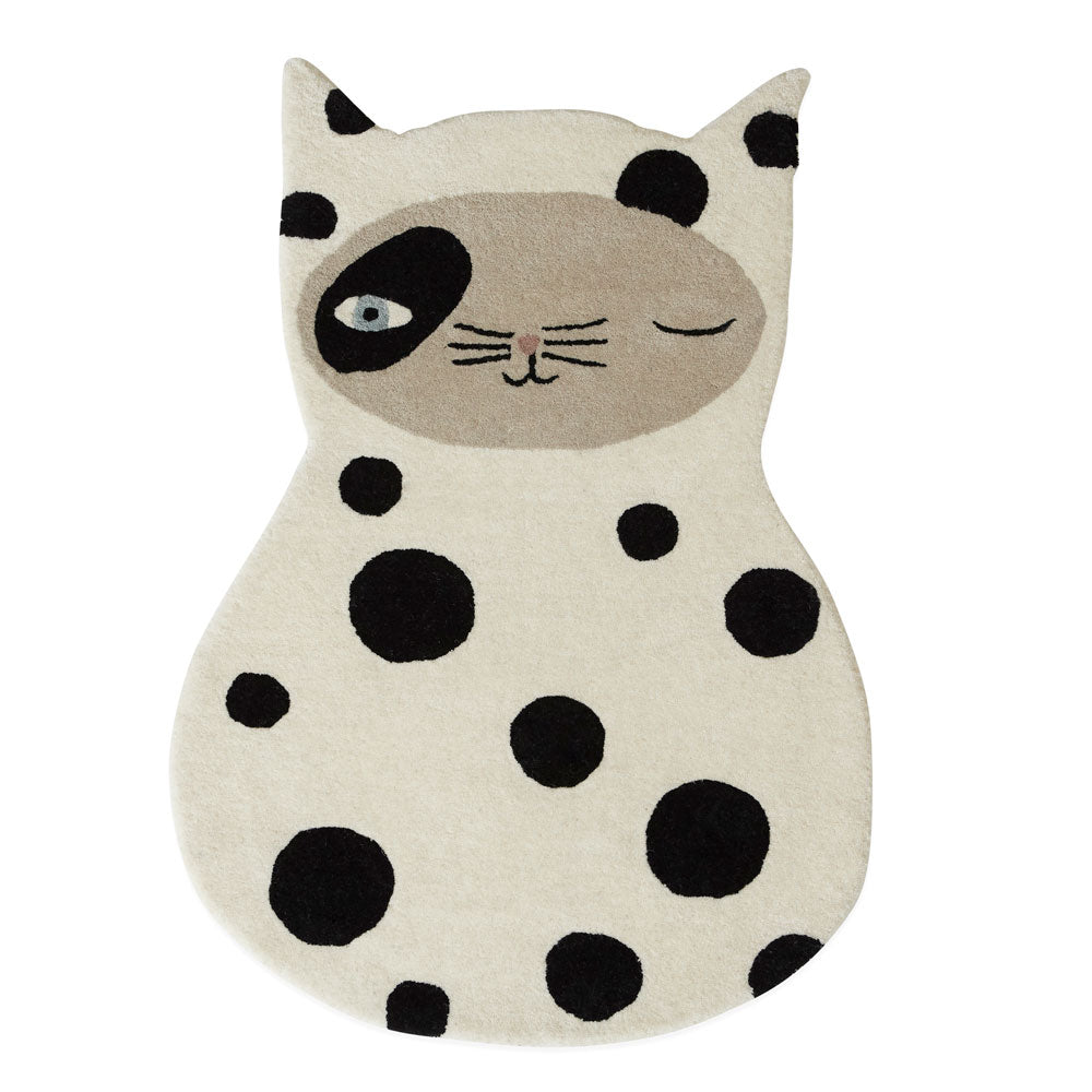 black spotted cat rug called zorro cat rug from Oyoy living design